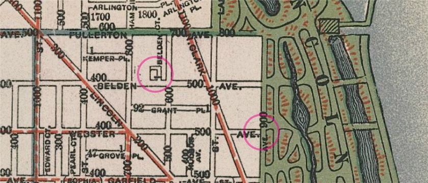 Chicago map 1896. Circles indicate where Schober lived, and where the officer reported hearing a gunshot.