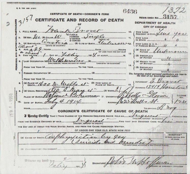 Frank Brovet Death Certificate