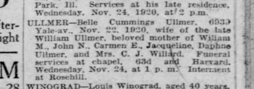 Obituary for Belle Ullmer