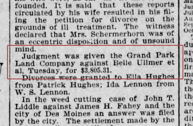 1901 Judgment against Belle Ullmer. Des Moines Register; 19 Jun 1901