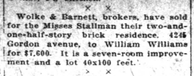 Newspaper notice showing that two months after Nellie died, her daughters sold the home.