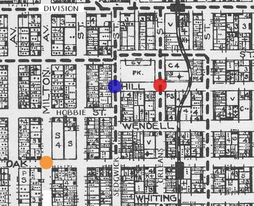 Carlo's neighborhood in 1922. Red dot: Location of shooting. Blue dot: Lalumia apartment. Orange dot: The