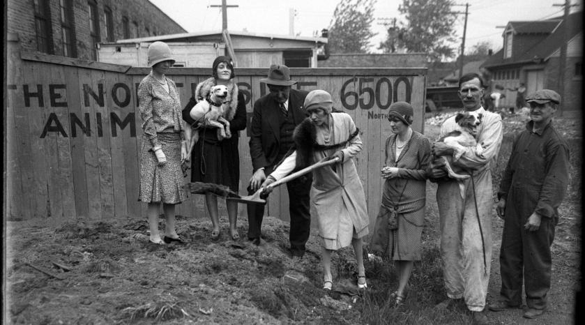 Groundbreaking for the shelter at 6500 N. Clark St. Dorothy is second from left, holding the dog. Chicago Tribune; 28 May 1929.
