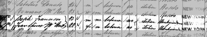 Frank and Maria's Immigration Record; 1898
