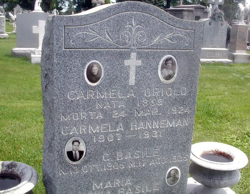 Basile Family Headstone; Mt. Carmel Cemetery. HIllside, IL.