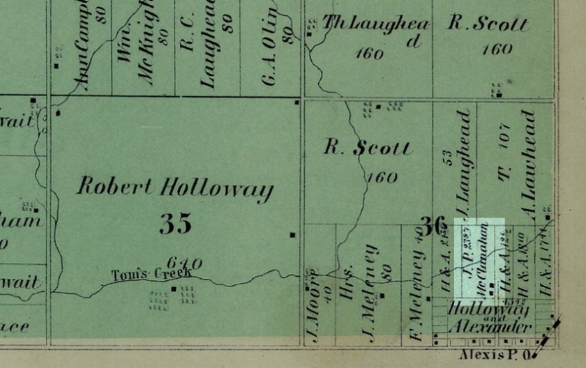 Map showing Suez Township and the area around Alexis, IL. 1874