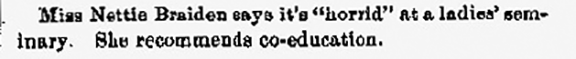 Horrid: Monmouth College Newspaper Courier; April 1, 1879