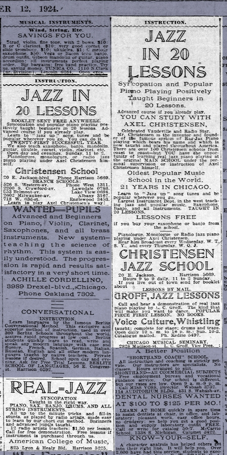 Jazz Want Ads; Chicago Tribune; Oct. 12, 1924; p. 109