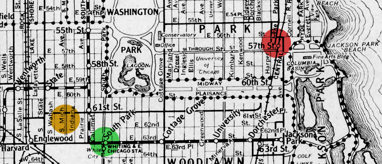 Map showing where the Townsends lived. Yellow dot: Family home on S. Michigan. Green dot: Apartment until 1914. Red dot: Ruth and Marian's studio apartment on 57th.