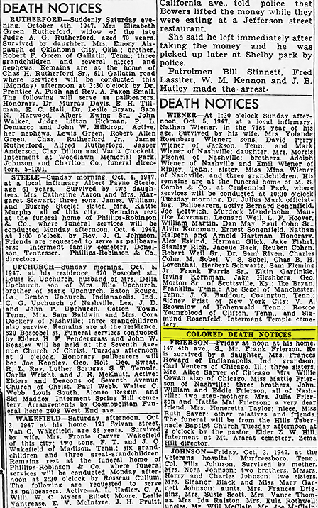 """Obituaries from the newspaper, divided into """"death notices"""" and """"colored death notices."""""""